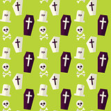 Vector Flat Seamless Death Halloween Pattern