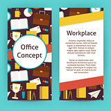 Vector Flyer Template of Flat Design Office Concept and Workplac