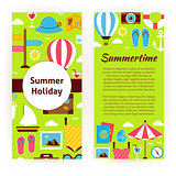 Vector Flyer Template of Flat Design Summer Holiday Concept Obje