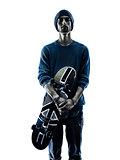 man skateboarder skateboarding portrait silhouette