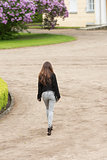 fashion girl is walking in the park