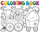 Coloring book Christmas train 1