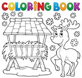 Coloring book hay rack and reindeer
