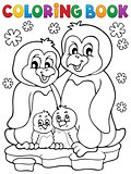 Coloring book penguin family theme 1