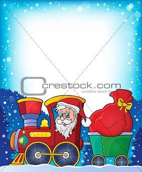 Frame with Christmas train theme 1