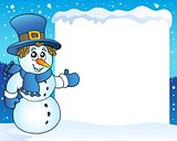 Frame with snowman topic 3