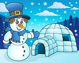 Igloo with snowman theme 3