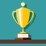 Vector Winner Cup standing at shelf. Flat style vector illustration.