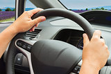hands with steering wheel
