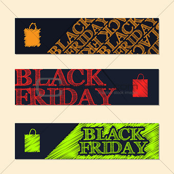 Black friday label set with scribbled elements