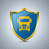 Truck badge design with bursting background