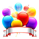 Color Balloons and Ribbon
