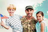 Composite image of soldier reunited with his children