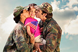 Composite image of soliders reunited with children
