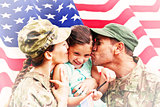 Composite image of soldiers reunited with daughter