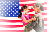 Composite image of solider reunited with daughter
