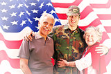 Composite image of solider reunited with parents