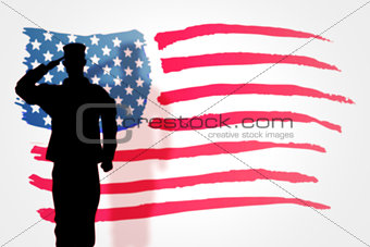 Composite image of soldier