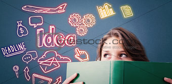 Composite image of student holding book