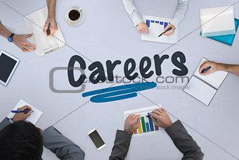 Careers against business meeting