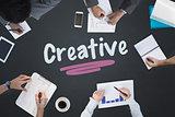 Creative against blackboard