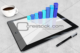 Composite image of tablet pc with graphs