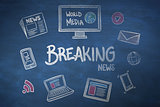 Composite image of breaking news doodle