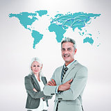 Composite image of  smiling businesswoman and man with arms crossed