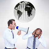 Composite image of businessman yelling with a megaphone at his colleague