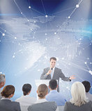 Composite image of businessman doing speech during meeting