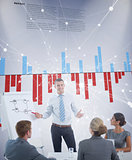 Composite image of manager presenting whiteboard to his colleagues