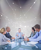 Composite image of business colleagues discussing about work