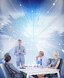 Composite image of business people listening during meeting