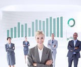 Composite image of businesswoman colleagues arm crossed