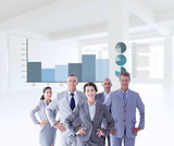 Composite image of business colleagues standing in a row