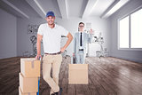 Composite image of happy delivery man leaning on trolley of boxes