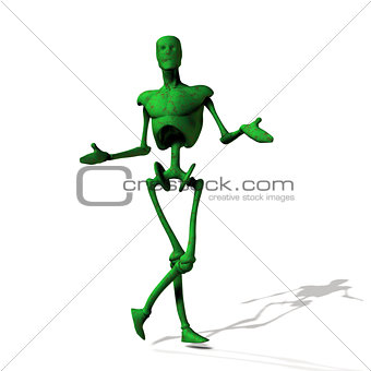 Green cyborg on white