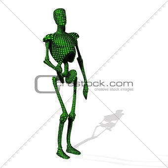 Green cyborg stand