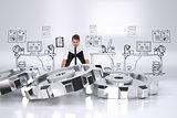 Composite image of elegant businessman lifting up something heavy