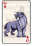 Six of diamonds playing card with a lynx