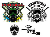 pattern with mask and gun for paintball