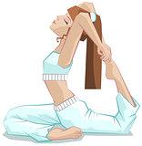 King pigeon pose. Beautiful girl yoga. Yoga asana Rajakapotasana.