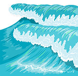 Blue high ocean wave. Surge wave