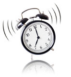 alarm clock ringing on white background