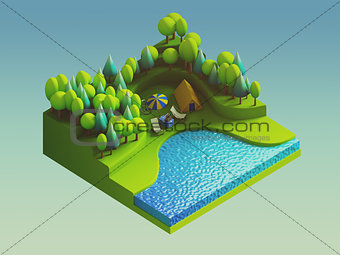 green earth concept in isometric view