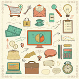 Vector Business Vintage Colorful Hand Sketched Icons