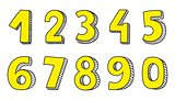 Vector yellow numbers isolated on white background