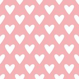 Tile vector pastel pattern with white hearts on pink background