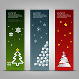 Christmas banner with abstract colorful trees template
