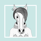 Fashion illustration of horse hipster